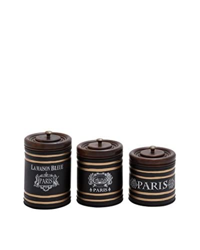 Set Of 3 Metal Jars With Wood Lids, Brown