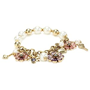 "Betsey Johnson ""Iconic Springtime Bloom"" Flower Multi-Charm Half Stretch Bracelet"