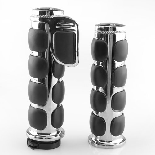 "Lattest 1"" Rubber Silver Motorcycle Bar Hand Grips For Harley Davidson Dyna Wide Glide Road King Chopper Suzuki Volusia Intruder front-298236"