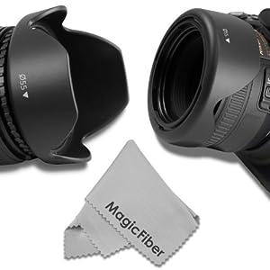 55MM Reversible Flower Lens Hood (2013 Update) + Premium MagicFiber Microfiber Cleaning Cloth