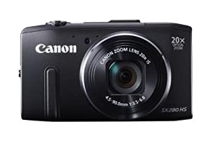 Canon PowerShot SX280 HS 12.1 MP CMOS Digital Camera with 20x Image Stabilized Zoom 25mm Wide-Angle Lens and 1080p Full-HD Video (Black)
