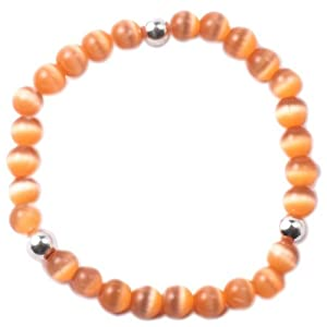 Cat Eye (Orange Color) with Sterling Silver Bead Accent, 5 1/4 Inch Baby Stretch Bracelet