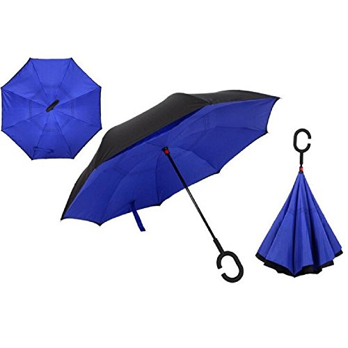 Autonorth Double Layer Reverse Outdoor Stick Umbrella Windproof Waterproof and Self Standing Inside Out Umbrella Best for Travelling and Car Using Color Blue