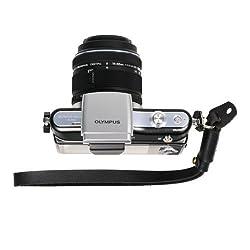FotoTech Black Genuine Leather Adjustable Camera Hand Wrist Strap for Sony NEX Leica Canon Nikon Panasonic Fujifilm Olympus Pentax Samsung Mirrorless compact Cameras with FotoTech Velvet Bag
