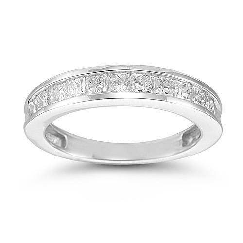 14k White Gold Princess-Cut Diamond Anniversary Band (1/4 cttw, I-J Color, I2-I3 Clarity), Size 6