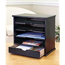 4-slot Black,Wood Mail Organizers