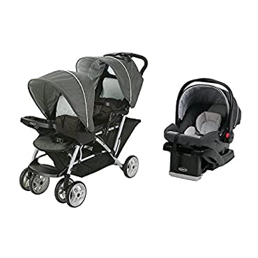 Graco DuoGlider Click Double Stroller + Infant Car Seat Travel System | Glacier