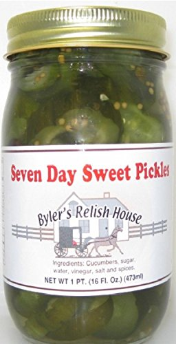 Byler's Relish House Homemade Amish Country Seven Day Sweet Pickles 16 oz. (Pickle Relish Sugar Free compare prices)