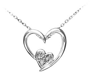 9ct White Gold Pave Set Diamond Double Heart Pendant and Chain of 46cm