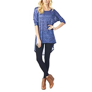 Women'S Hacci High & Low Tunic with 3/4 Sleeves - Heather Blue M