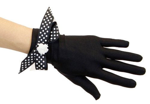 Lady Minnie Midnight Black Satin Gloves with Choice of Glove Trims