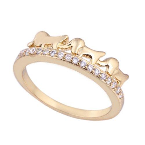 C-Princessリング 指輪 18Kゴールド仕上げ 表面メッキ コーティング ラインストーン レディース 女性 アクセサリー ジュエリー ウェディング エンゲージリング 魅力的 独特 (11)