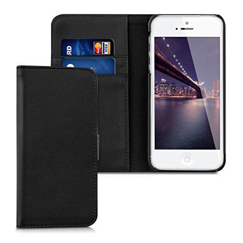 kalibri-Leder-Hlle-James-fr-Apple-iPhone-SE-5-5S-Echtleder-Schutzhlle-Wallet-Case-Style-mit-Karten-Fchern-in-Schwarz