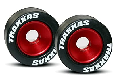 Traxxas 5186 Mounted Wheelie Bar Tires on Red Wheels