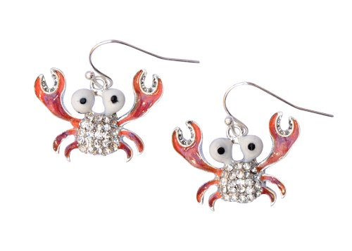 Crystal Crab Enamel Pierced Earrings