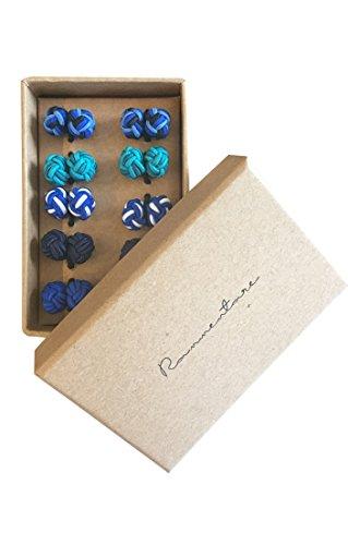 Silk Knot Cufflinks - Gift set 5 pairs - Mixed Blue