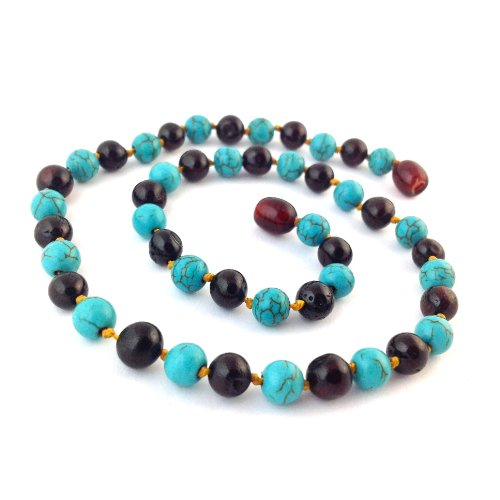 "Hazelaid (TM) 14"" Pop-Clasp Baltic Amber & Gemstone: Dark Cherry & Turquoise - 1"