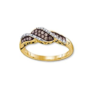 Genuine Diamond Ring Cognac and White Twist Design 10K Yellow Gold