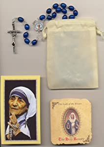 Mother Teresa/Theresa Blue Relic Rosary with Pamphlet, Holy Card and Velour Bag