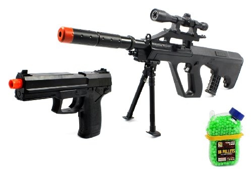 (Combo) Mini Unseen Aug 688 Spring Airsoft Gun Fps-250 + Task Force Electric Blowback Airsoft Pistol Full Auto Fps-180 + 1000 Bb'S Clip-On Holster Container