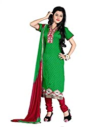 FadAttire Chanderi Salwar Kameez Dress Material-Green-FASE01