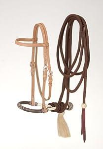 Tough 1 Royal King Browband Headstall Bosal/Cotton Cord Mecate Set, Light Oil