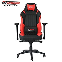 GT Omega EVO XL Racing Office Chair Black and Red Leather Esport Gaming Seat