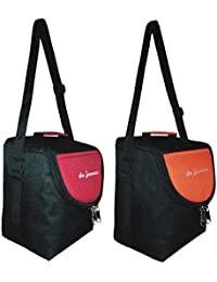 De Jeunez Lunch Bag-D3-Black With Maroon And Black With Orange