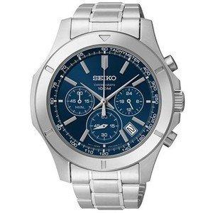 [Seiko] SEIKO watch Seiko SEIKO overseas model imports stainless steel chronograph 100 M water resistant watch Watch Blue