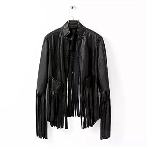Sexy Women Punk Tassels Fringe Black Jacket Biker Motorcycle Soft Leather Coat 2-8 (M(US4))