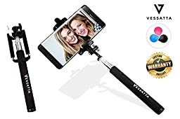 VESSATTA © Selfie Stick for iPhone & Samsung Smart Phones - Requires no charge, strudy with photo button on handle (extends 3.5 feet) Compact folding size - Multiple Colors (Black)