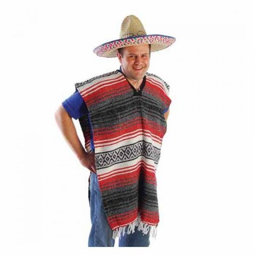 US Toy Adult Striped Poncho No Sombrero Costume