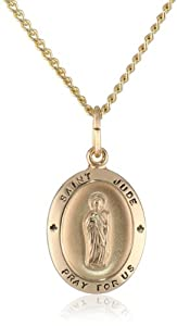 14k Gold Filled Oval Saint Jude Pendant Necklace with Stainless Steel Chain, 18""