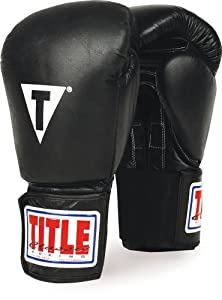 TITLE Classic Hook-and-Loop Leather Training Gloves, Black, 18-Ounce