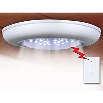 Cordless Ceiling-Wall Light With Remote Control Light Switch - Turn On