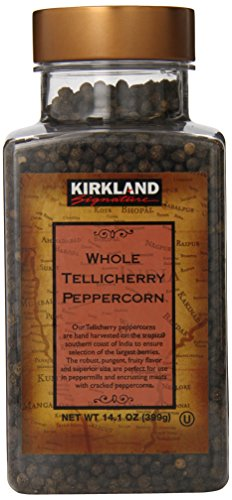 Kirkland Signature Whole Tellicherry Peppercorns, 14.1oz Gourmet Jar