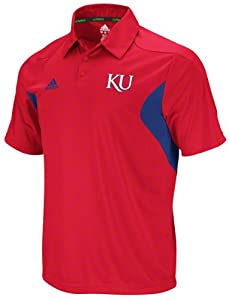 Kansas Jayhawks adidas Red Football Adizero Sideline Polo Shirt by adidas
