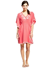 M&S Collection Bali Floral Embroidered Cover-Up Kaftan