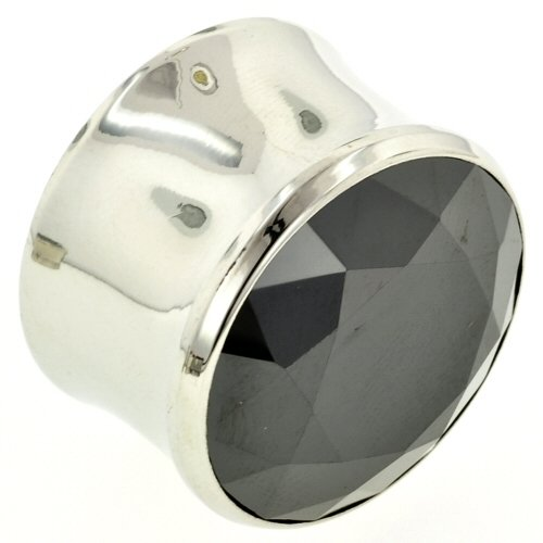 One Stainless Steel Double Flared Magnum Eyelet with Faceted Gem: 1