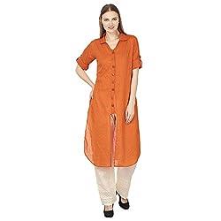 Atulya Orange Cotton Shirt style Kurti (Large)