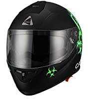 """Biohazard"" Full Face Matte Green Dual Visor Street Bike Motorcycle Helmet by Triangle [DOT] (Large) from Zhejiang Jixiang Motorcycle Fittings Co., LTD"