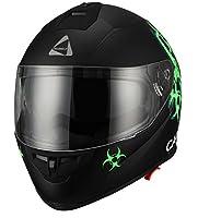 """Biohazard"" Full Face Matte Green Dual Visor Street Bike Motorcycle Helmet by Triangle [DOT] (Large) from Zhejiang Jixiang Motorcycle Fittings Co., LTD"