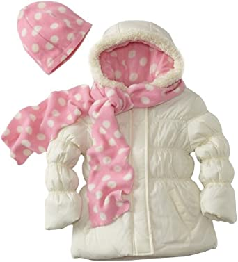 Pink Platinum Little Girls'  Polka Dot Jacket, Cream, 4