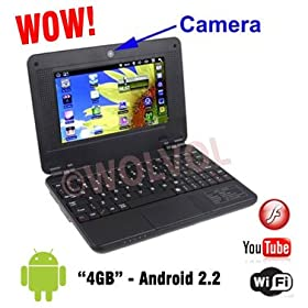 BLACK 7 inch Laptop NETBOOK WiFi Built-in Camera Flash and TONS of Android Games by WOLVOL