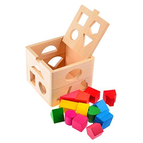 Steckwürfel, iTECHOR 13 Löcher Intelligenz Box für Form Sorter Kognitive und Matching Holzbausteine Baby Kinder Kinder pädagogisches Spielzeug