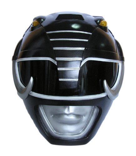 Wearable Black Mighty Morphin Power Rangers Cosplay Helmet Scale 1:1
