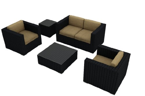 Harmonia Living Urbana 4 Piece Outdoor Wicker Patio Sofa Set with Tan Sunbrella Cushions (SKU HL-URBN-4SS-HB) image
