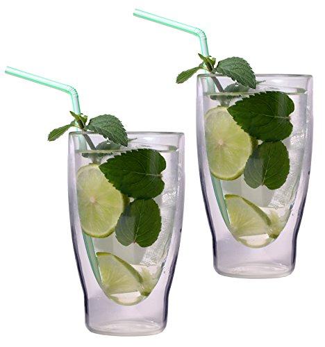 2x 370ml XXL doppelwandige Cocktailgläser / Longdrinkgläser / Eistee-Gläser / Saft- und Wassergläser - edle extra große Thermogläser mit Schwebeeffekt von Feelino
