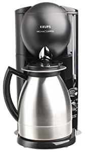 Krups 229-4G Aroma Control 10-Cup Coffeemaker with Thermal Carafe, Black and Brushed Stainless Steel