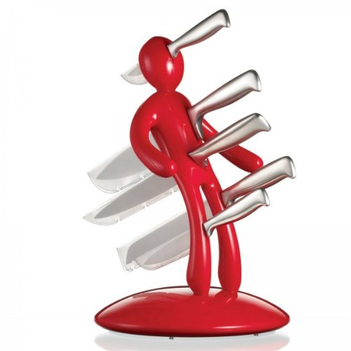 The Ex 5-Piece Knife Set with Unique Red Holder Designed By Raffaele Iannello